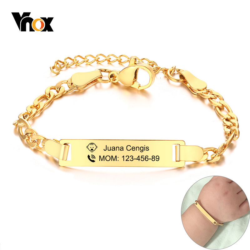 Vnox Kids Safety Information Personalzied Bracelets For Baby Anti Allergy Stainless Steel Girl Boy Emergency Contact Jewelry