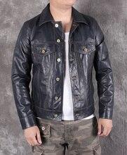 Бесплатная доставка. 2020 Новая мужская Тонкая куртка из натуральной кожи, классическое пальто из овчины 507, повседневная кожаная куртка, модная