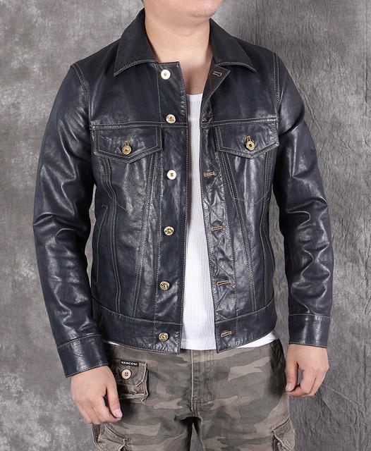 Ücretsiz shipping.2020 yeni erkek slim hakiki deri ceket, klasik 507 tarzı koyun derisi ceket, rahat deri ceket, moda
