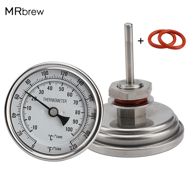 "Weldless Bi-metal Thermometer Kit, 3""Face & 2""Probe, 1/2""MNPT, 0~220F degree, Beer Brewing Thermometer, Homebrew Kettle"