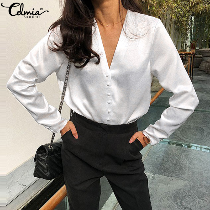 Celmia Fashion White Satin Blouse 2020 Ladies Casual Long Sleeve Silk Shirts Buttons Sexy V Neck Party Tops Plus Size Blusas 5XL