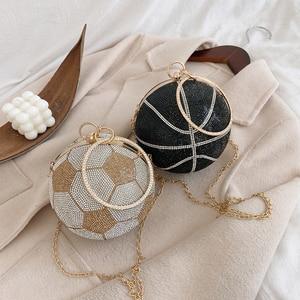 Moda wykwintna torba na zakupy Rhinestone Snap Crossbody torba Clutch Lady Mini przenośna torebka w kształcie piłki