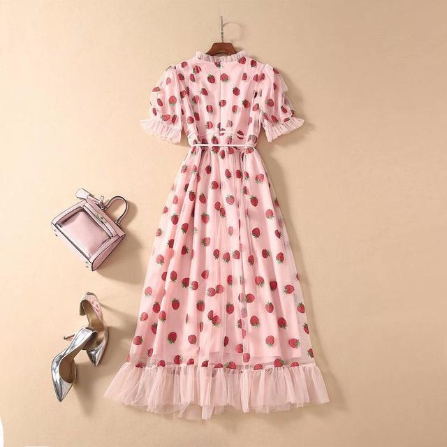 Платье женское средней длины с коротким рукавом и V-образным вырезом 3