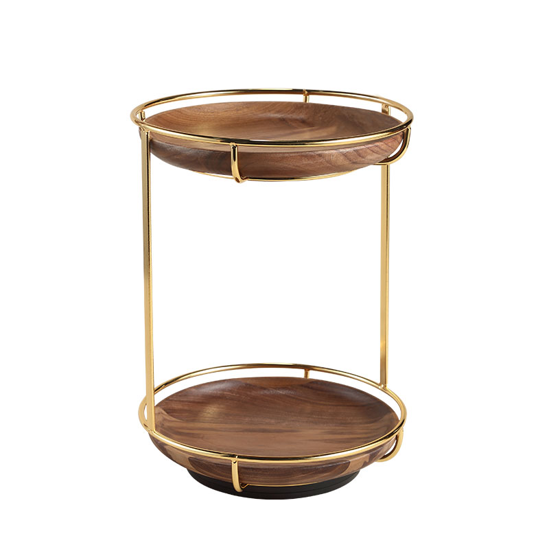 Casegrace Wooden 2 Layers Rotating Makeup Cosmetic Holder Earring Necklace Ring Bracelet Jewellery Metal Display Storage