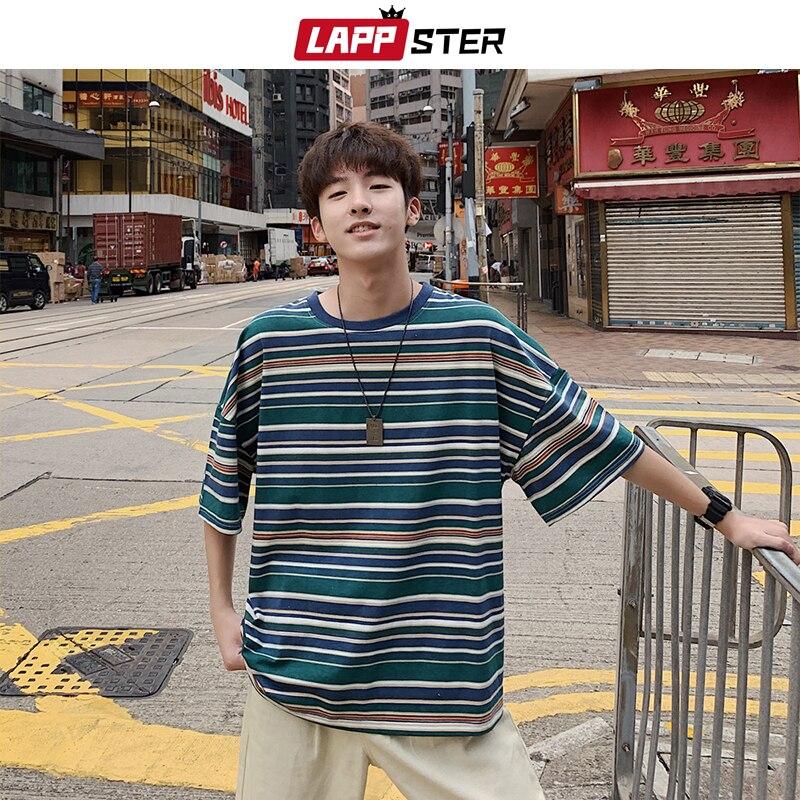 LAPPSTER Men Harajuku Striped Tshirt 2020 Streetwear Loose Mens Black Korean Fashions Summer  Top Tshirts Male Hip Hop Clothing
