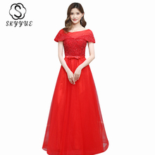 Evening Gowns Burgundy Skyyue ER502 O-neck Beading Formal Evening Dresses Off Shoulder Long Robe De Soiree Lace Up Party Gowns new fashion burgundy long lace evening dresses mermaid sequin long sleeve formal evening gowns free shipping robe de soiree