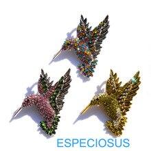 Элегантная булавка, стразы в виде Жужжащей птицы, модные ювелирные изделия, брошь, не покрытая серебром, кристалл, жираф, нагрудная булавка, смешанные цвета, женская одежда