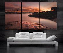 Modern Colorful Photo Picture dusk Room Decor 3 pcs Cities Canvas Art Painting Living Bedroom