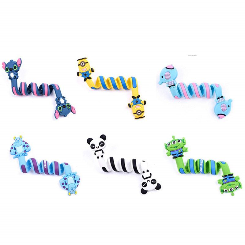 6 pcs Cute cartoon USB Digital headphones <font><b>Cable</b></font> custom <font><b>organizer</b></font> <font><b>Cable</b></font> Winder storage strap For Children Birthday Party Gift image