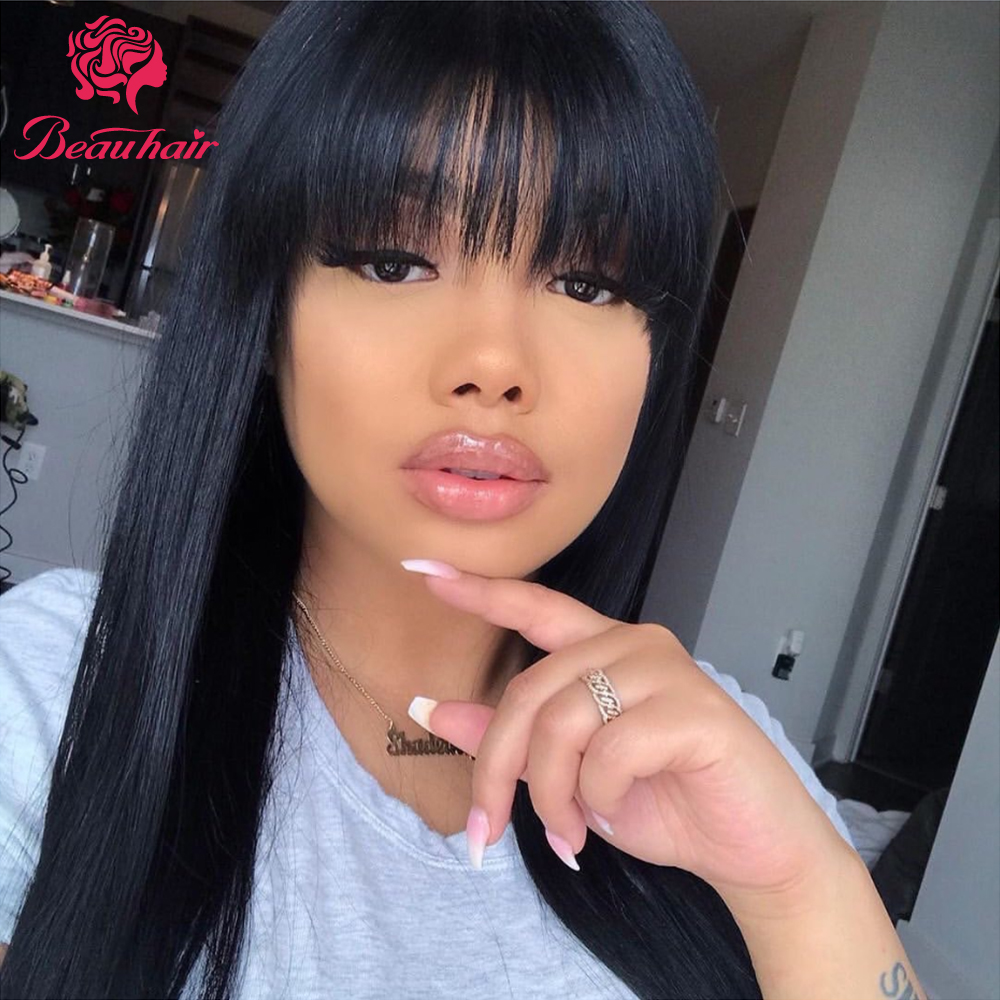 Brazilian Human Hair Wigs Short To Long Bob Human Hair Wig With Bangs For Black Women Natural Color Straight For Women Beauhair