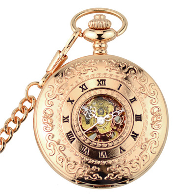Retro Rose Gold Mechanical Pocket Watch Skeleton Steampunk Vintage Mens Womens Hand Winding Pocket Watch With FOB Chain