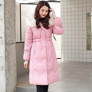 Image 2 - 2020 зимняя новая парка, женская утепленная пуховая хлопковая куртка, пальто, теплые пуховые хлопковые пальто, женская однотонная куртка с капюшоном, длинные плотные приталенные куртки