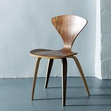 Натуральные боковые стулья орех или деревянные, из ясеня Норман Чернер стулья из фанеры красный черный белый обеденный стул