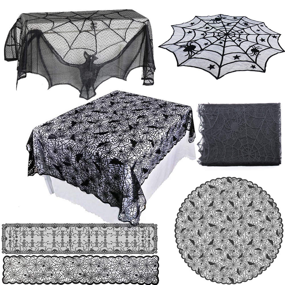 1Pcs Black Lace Spider Web Cobweb Tablecloth Table Runner Fireplace Mantle Curtain Decoration For Halloween Home Party Supply