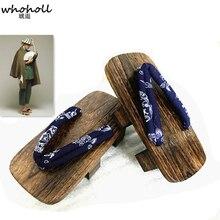 WHOHOLL Japanese Geta Bleach Urahara Cosplay wooden clogs Naruto Jiraiya Man Summer Flip-flops Two-toothed Platform