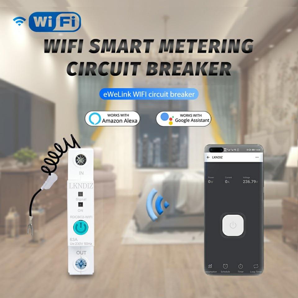 1P eWelink Din rail Single phase WIFI Smart Energy Meter Power Consumption kWh Meter wattmeter with Alexa google for Smart home