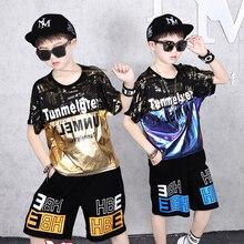 Fashion Set Street Dance Clothing Suit For Hip-hop Suit Boy Short-sleeve T Shirt Loose Shorts Two-piece Clothes Set Big Boy 2020
