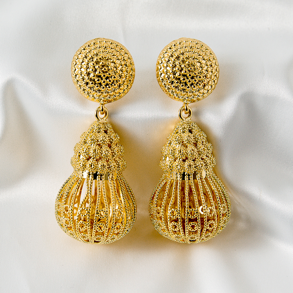 Hollow Out Gourd Shaped Luxurious Style Exquisite Women Earring 2021 New Arrival Customize Accept Wedding Attendance
