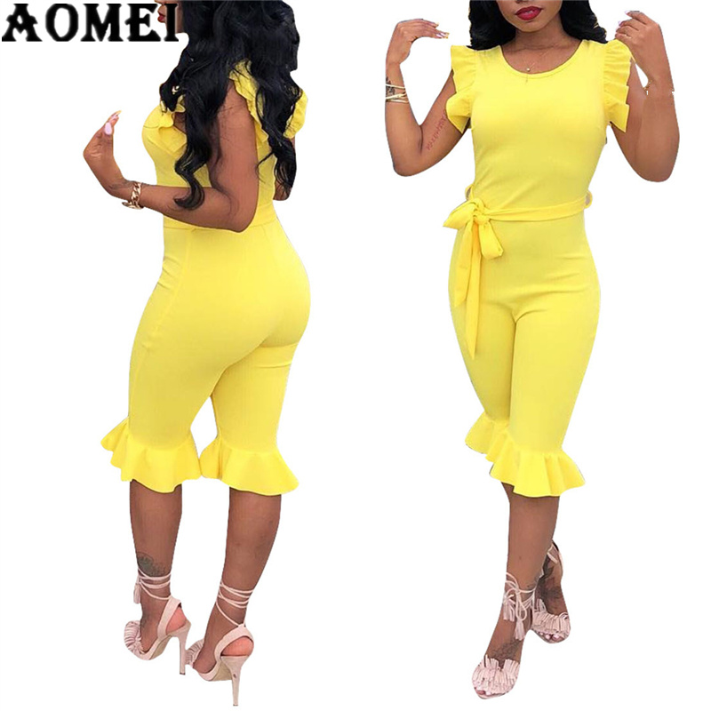 Women Jumpsuit Slim With Wasit Belt Ruffles Sheath Casual Fashion Sleeveless Knee Length Pants 2020 Summer New Arrival Plus Size