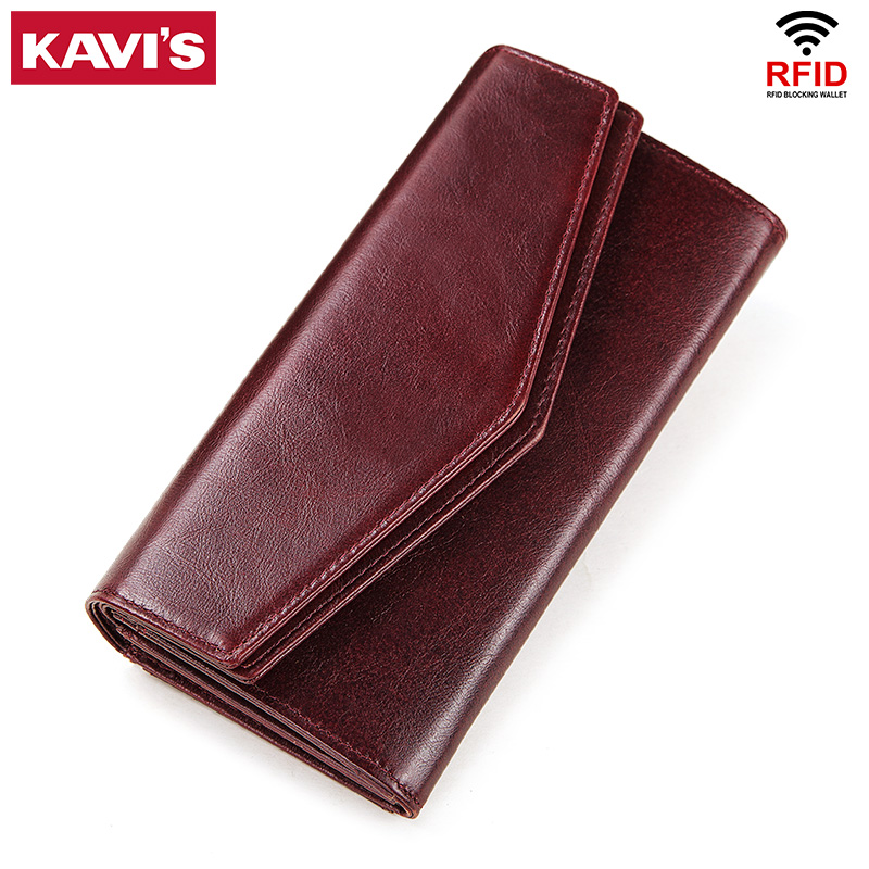 KAVIS Genuine Leather Wallet Female Coin Purse Women Portomonee Clutch  Lady Clamp For Phone Bag Zipper Card Holder Handy Perse