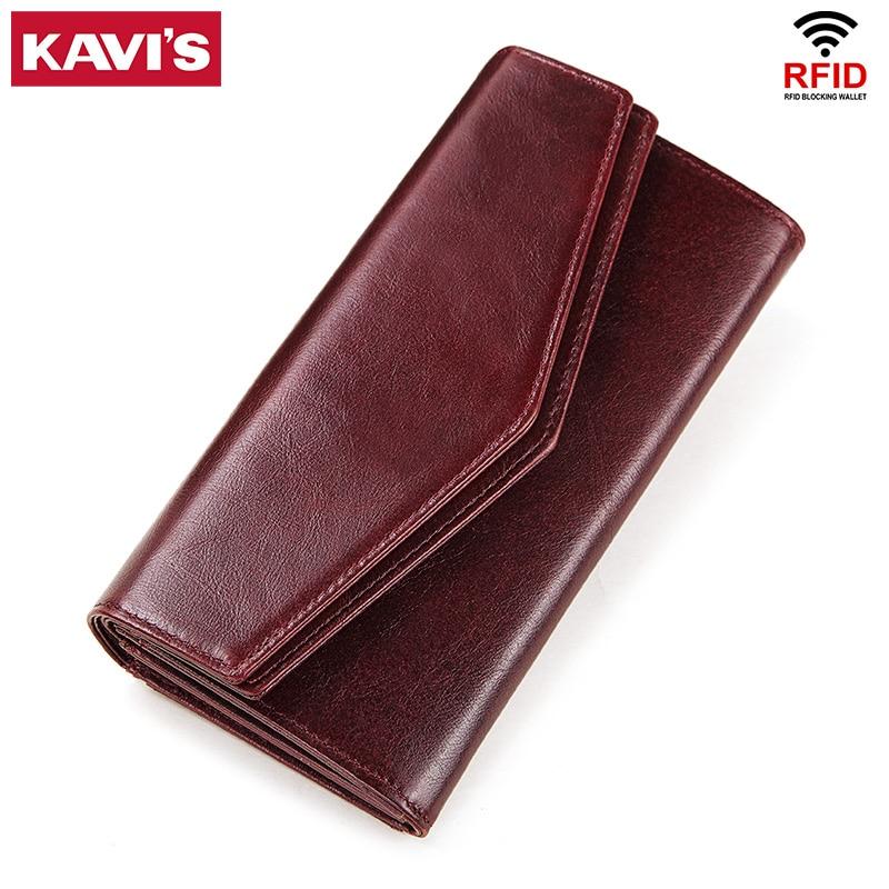 KAVIS Genuine Leather Wallet Female Coin Purse Women Portomonee  Clutch  Lady Clamp for Phone Bag Zipper Card Holder Handy PerseWallets