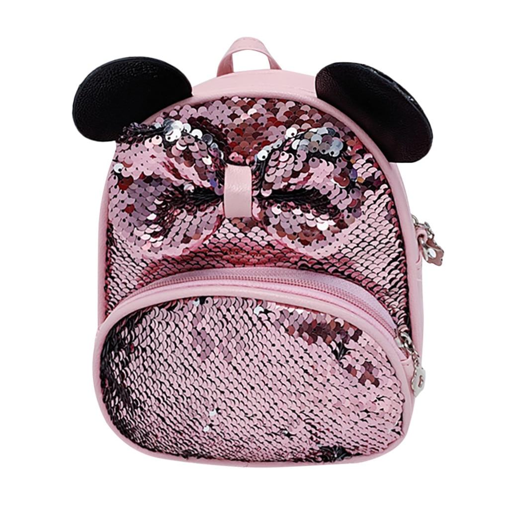 Student Girls Cartoon Sequin Bow Crossbody Bag Women Satchel Travel School Backpack  Mujer Bolsas Femininas Sac A Main Femme