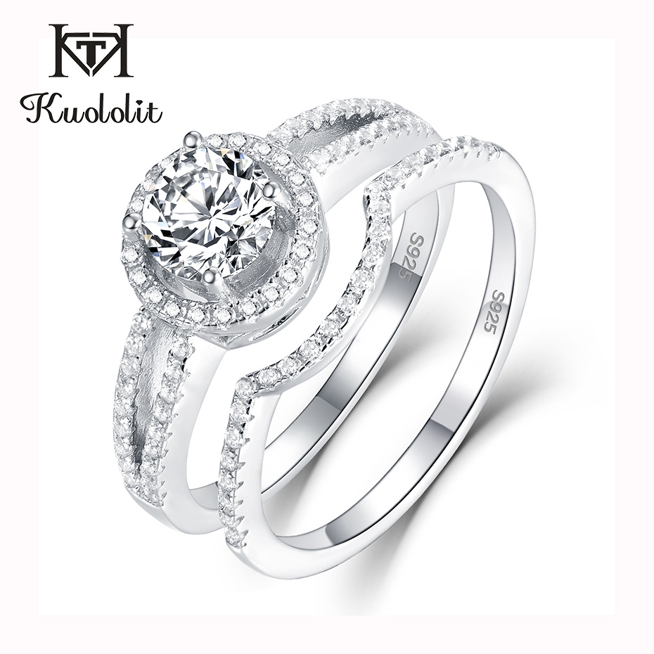 Kuololit 0.8ct Sona Diamonds Rings For Women 925 Sterling Silver Band Ring Round Cut Stone Engagement Bride Gifts Fine Jewelry