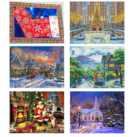 5D LED Light Diamond Painting Winter Landscape Diamond Embroidery Sale Full Round Drill Diamond Mosaic 30x40cm With Frame