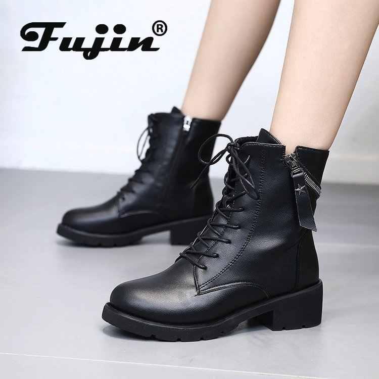Fujin kadın kar botları siyah deri Platform kış sonbahar ayakkabı patik Zip dantel peluş sıcak kürk çizmeler kış kadın