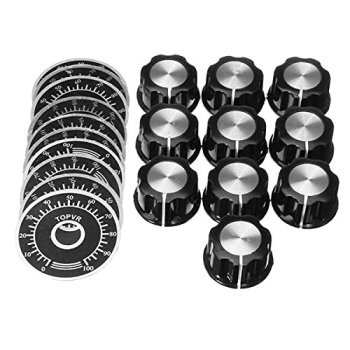 10 Sets Potentiometer Knob Kit MF-A03 Dial + Bakelite With Scale Plate Sheet Digital Set - discount item  31% OFF Passive Components