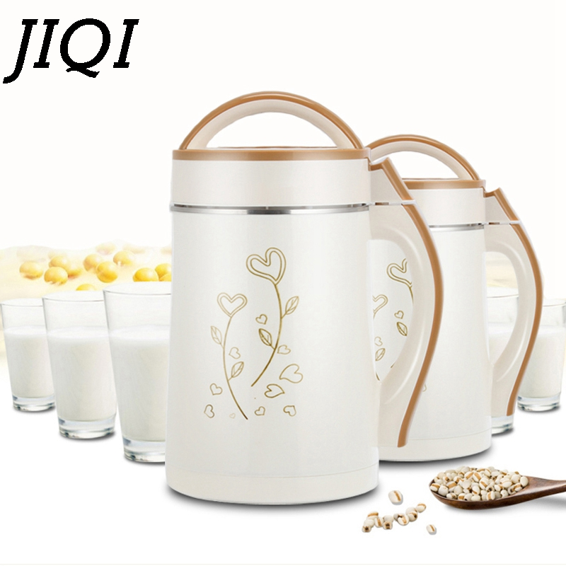 JIQI 2L Soymilk Machine Household Soyabean Milk Maker Stainless Steel Filter-free Heating Soy Beans Milk Juicer Grain Grinding