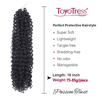18inch 22strands Passion Twist Hair Crochet Braid Extensions Synthetic Crotchet Hair Water Wave Braiding Hair 3