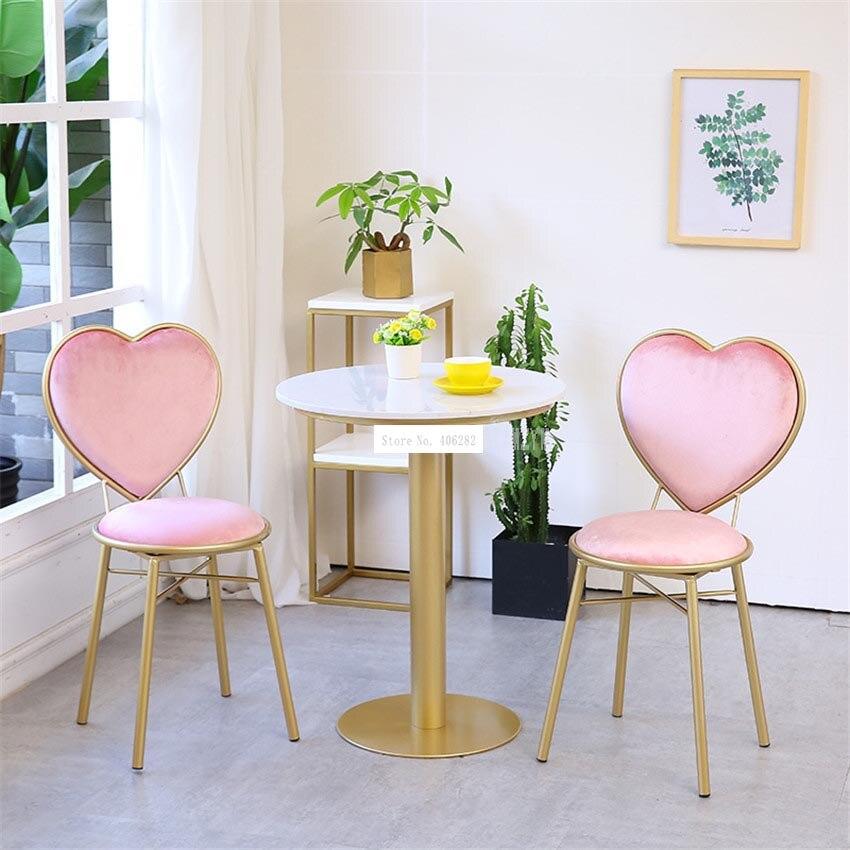 Modern Fashion Nordic Minimalist Coffee Cafe Chair Love Heart Shape Backrest Flannelette Soft Seat Metal Iron Art Leisure Chair