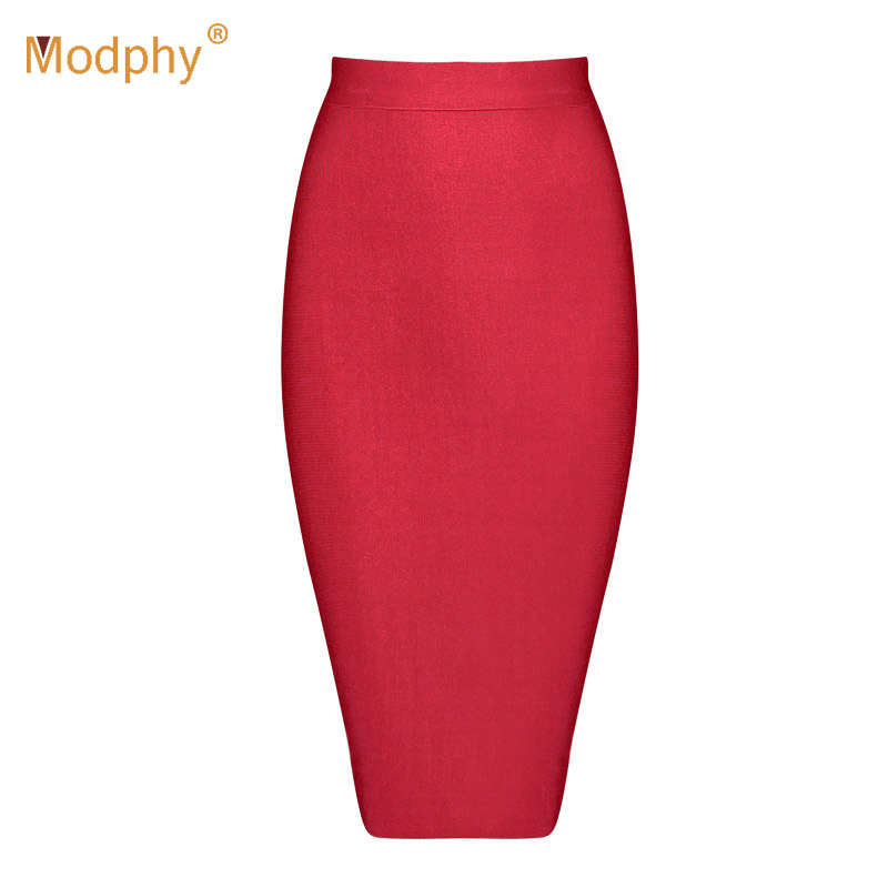 2019 New Knee Length Midi hl Pencil Office High Waist Bandage Skirt Red Sexy Girl Bodycon Womens Skirt