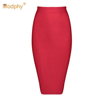 2019 Stretchy Elastic Women Knee Length Celebrity Bandage Skirts Sexy Slim Solid Color Pencil Skirt Drop Shipping HLS113 8