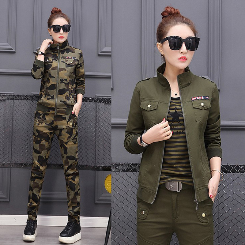 Plus Size 5XL Women Costume Spring Cotton Military Camouflage Two Piece Set Top And Pants 2XL 3XL 4XL Women's Suit