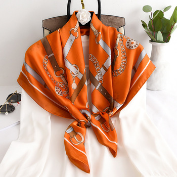 Silk Square Scarf Women Printed Scarves Fashion Lady Shawls Femme Hijab Big Designer Brand Chains Orange Spring - discount item  10% OFF Scarves & Wraps