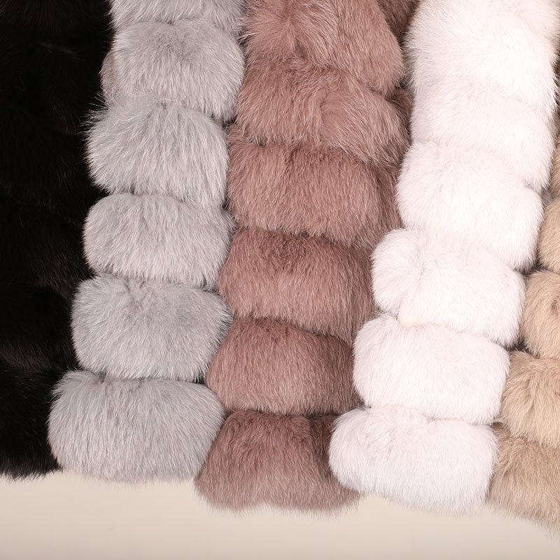 maomaokong 50CM Natural Real Fox Fur CoatWomen Winter natural fur Vest Jacket Fashion silm Outwear Real Fox Fur Vest Coat Fox 41