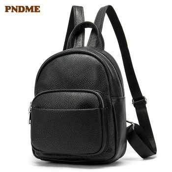 PNDME genuine leather ladies black small backpack casual simple daily cowhide women's cute bookbags mini bagpack for girls 2019