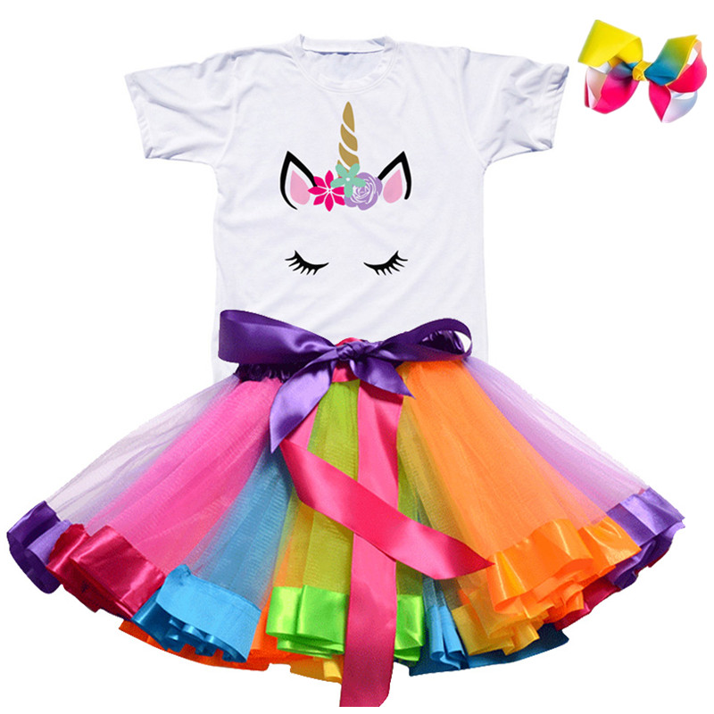 Gilrs Unicorn Princess Dress Children's Birthday Party Dresses Outfits For 2 to 6 Years Kids Girl Clothes Baby Girl Clothing 3