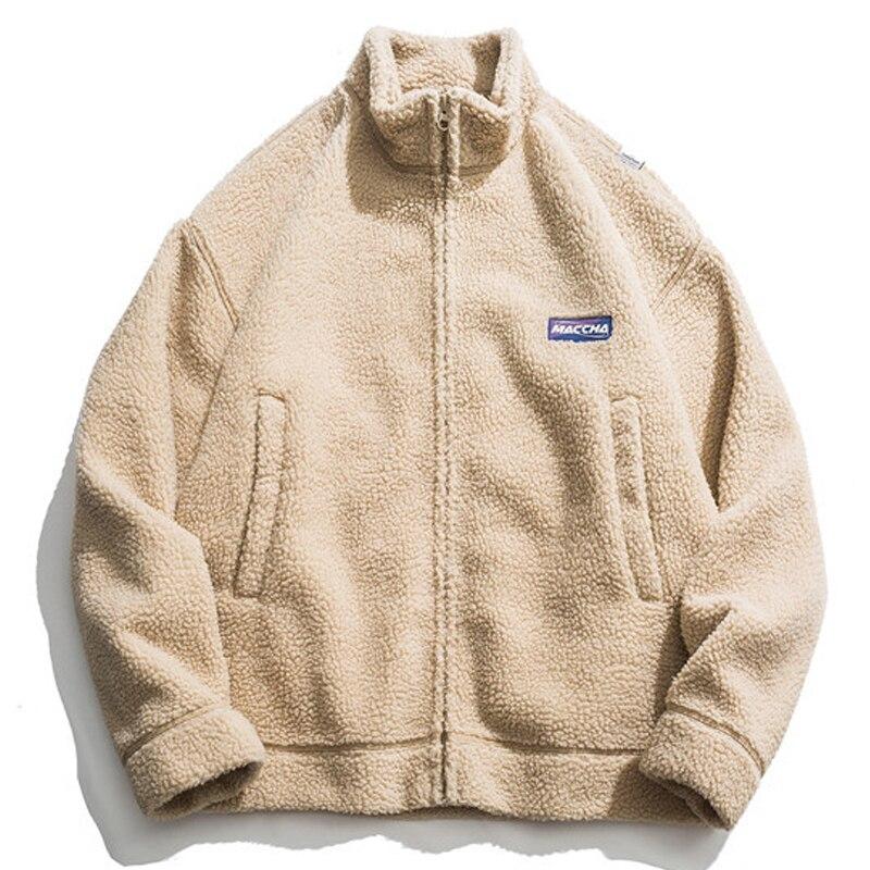 2019 Winter Original Ins Solid Collar Cardigan Loose Fleece Coat For Men Q6271