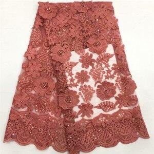 Розовый Африканский материал Бисером кружевная ткань для свадьбы фиолетовая французская кружевная ткань в нигерийском стиле ткань 2019 высо...
