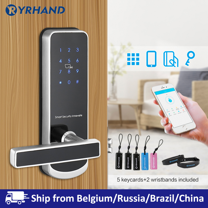 Electric Lock For Door WIFI APP Smart Touch Screen Lock,Digital Code Keypad Deadbolt For Airbnb Hotel Apartment
