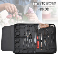 New Extensive 16Pcs Garden Bonsai Tool Set Carbon Steel Kit Cutter Scissors with Nylon Case For Garden Pruning Tools