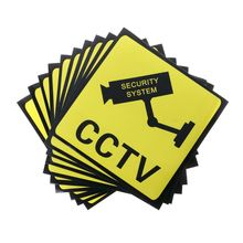 Warning Stickers Signs Label Cctv-Security-System Safety 10PCS 111mm Decal Self-Adhensive