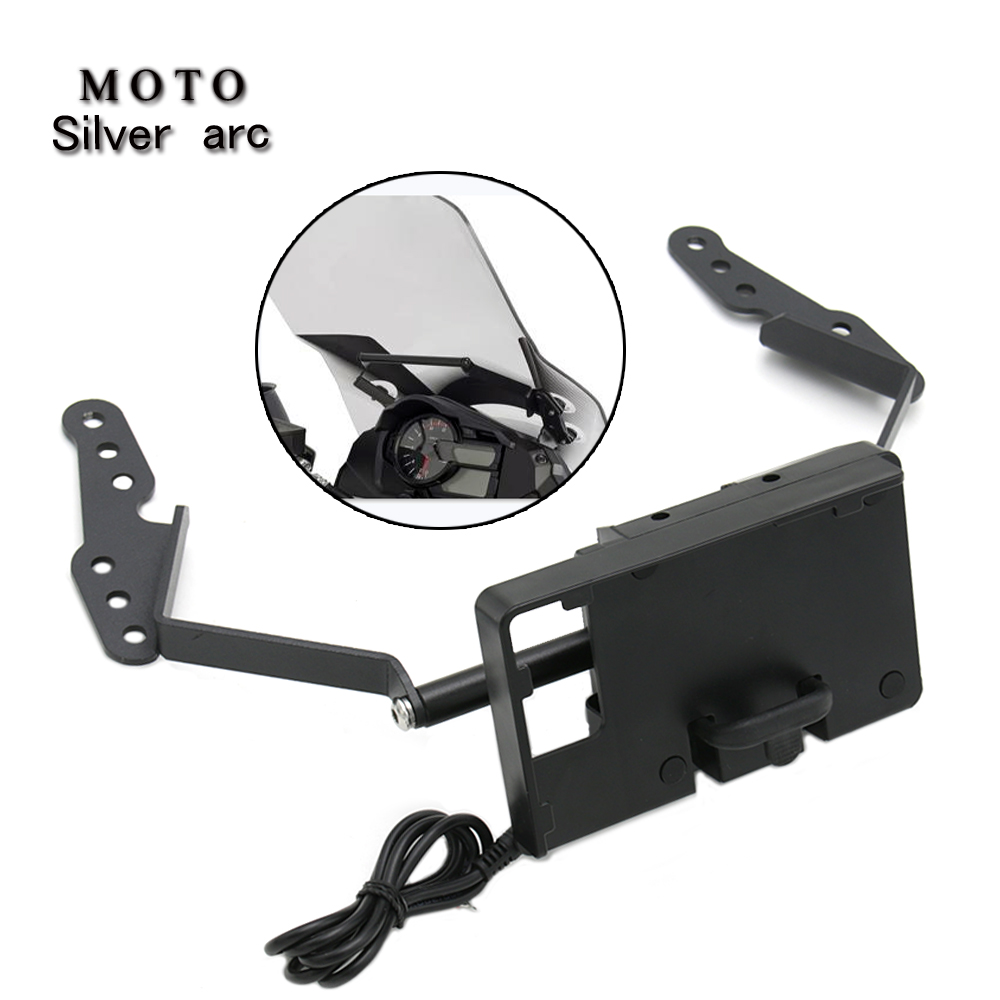 For SUZUKI DL1000 <font><b>DL</b></font> <font><b>1000</b></font> <font><b>v</b></font>-<font><b>strom</b></font> 2017-2019 2018 Stand Holder Phone Mobile Phone GPS Plate Bracket Phone Holder USB BLACK image