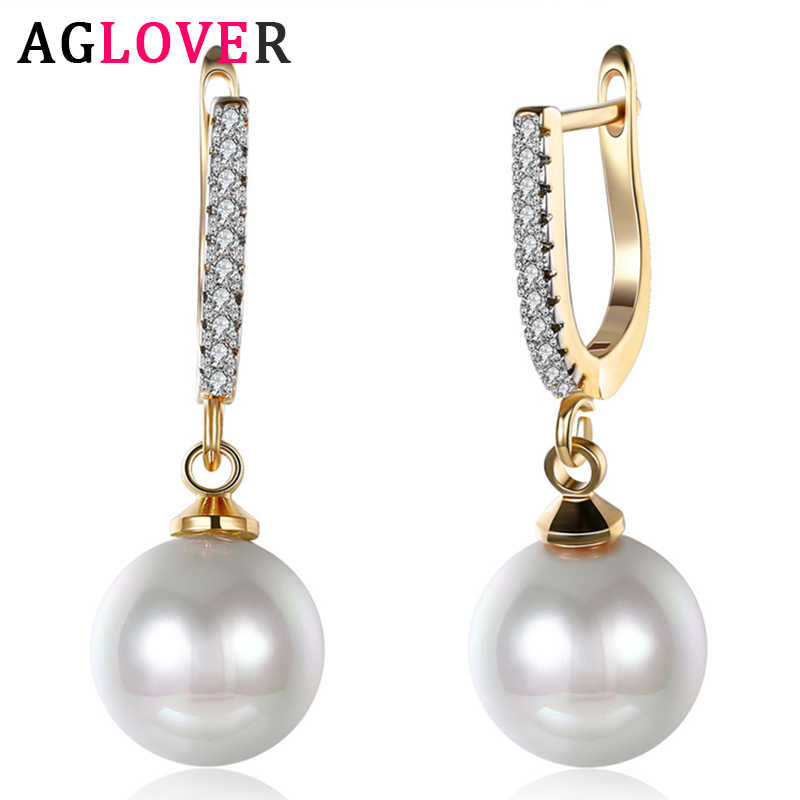 AGLOVER 29mm Mutiara Air Tawar Liontin 925 Sterling Silver 18k Zirkon Anting-Anting Untuk Wanita Fashion Pernikahan Party Perhiasan