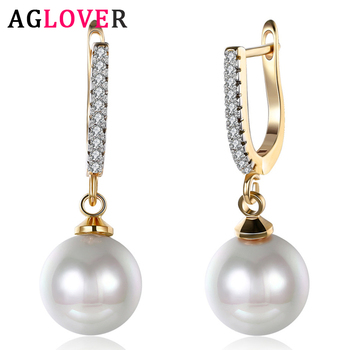 AGLOVER 29mm Freshwater Pearl Pendant 925 Sterling Silver 18k Zircon Earrings For Women Fashion Wedding Party Jewelry 2019 fashion 925 sterling silver dangle earrings white zircon flower pearl drop earrings for girls women wedding party jewelry