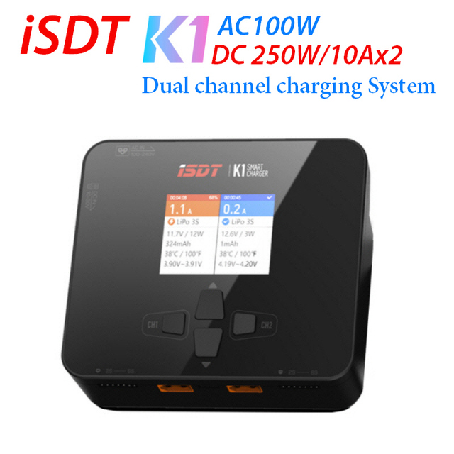 iSDT K1 AC 100W DC 250W 10Ax2 Dual Channel Charger