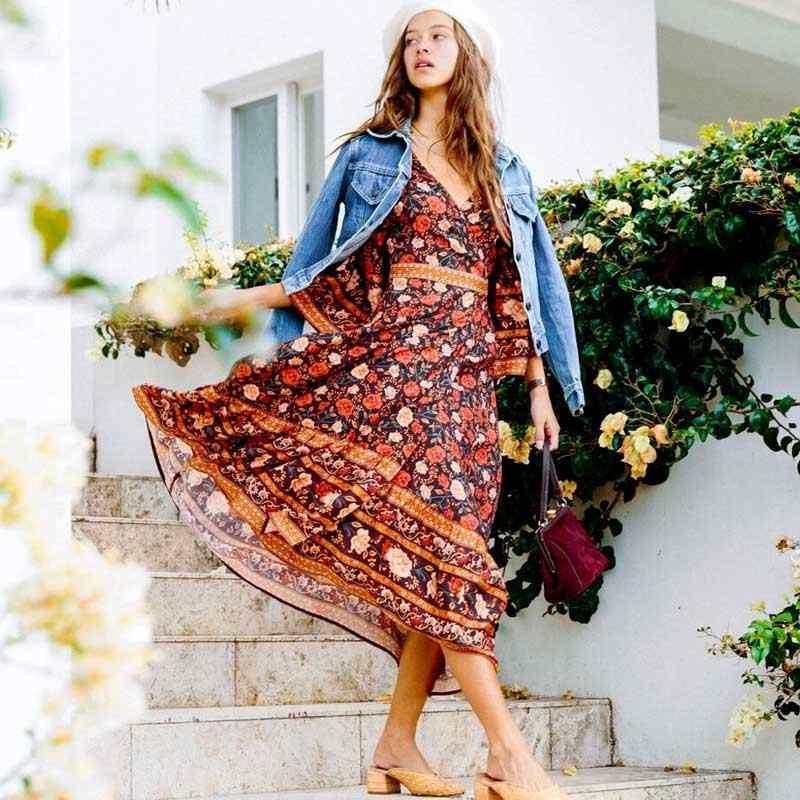Богемный Вдохновленный Rosa wrap платье для женщин 3/4 рукав v-образный вырез Длинные летние платья Пояс завязывается Повседневное платье Бохо игривое шикарное пляжное платье